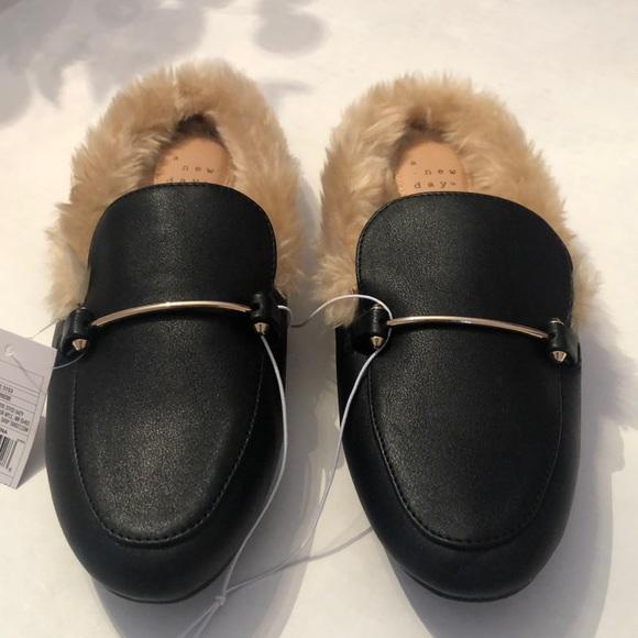 Women's Black Faux Fur Lined Mules